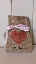 Personalized Romantic Small Father Christmas Xmas Santa Sack / Stocking Bag Jute Hessian